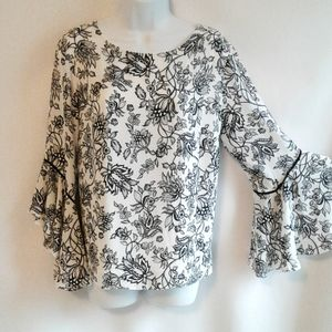White House Black Market Bell Sleeve Top Size 12